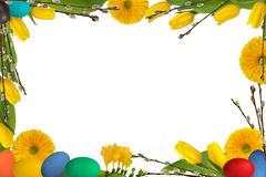 Easter frame 5. Easter frame decoration  with  eggs, flowers and catkins on white background Stock Photography