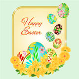 Easter frame Easter eggs and daffodils vector Stock Photos
