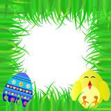 Easter frame with egg and baby chickens Stock Photos