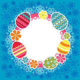 Easter frame with eggs and flowers Stock Photo