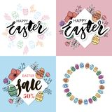Easter frame with easter eggs hand drawn black on white background. Decorative frame from eggs. Easter eggs with colorful leaves royalty free stock photography