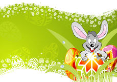 Easter Frame with Eggs and Rabbit Royalty Free Stock Photography