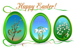 Easter frame with floral motifs. Three green glowing easter decorative frames Stock Photo