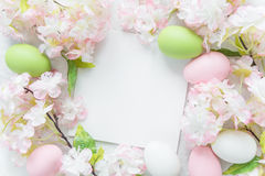 Easter frame with flowers and Easter eggs Royalty Free Stock Image