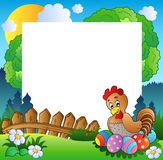 Easter frame with hen and eggs Stock Images