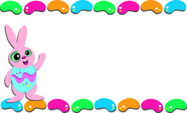 Easter Frame of Jellybeans and Rabbit Stock Photography
