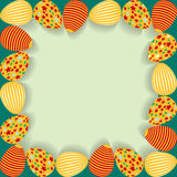 Easter frame with painted eggs. Stock Image
