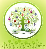 Easter frame with tree and eggs Royalty Free Stock Image