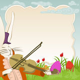 Easter frame with violonist bunny. Easter greeating with violonist bunny and copyspace for your text Stock Image