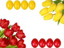 Easter frame with yellow and red tulips and eggs Stock Photos