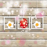 Easter 3 Frames Cherry Flowers Wood Stock Image