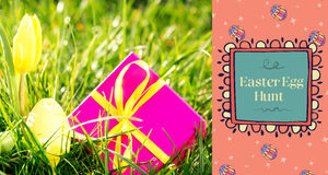 Easter frames mix against pink gift box with easter egg and yellow tulip Stock Photo