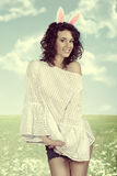 Easter fresh girl old style color Royalty Free Stock Photo