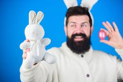 Easter fun. Bearded man with bunny toy and Easter egg. Hipster with long rabbit ears holding egg laying hare. Easter. Bunny delivering colored eggs. Celebration royalty free stock photos
