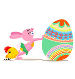 Easter funny. Illustration of rabbit and chicken push big Easter egg Stock Image
