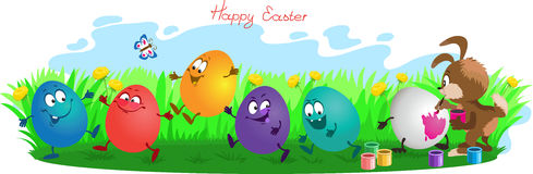 Easter. Funny cartoon. Vector illustration. Rabbit paints easter eggs on grass stock illustration