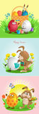 Easter. Funny cartoon. Vector illustration. Rabbit paints easter eggs on grass royalty free illustration