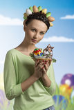 Easter funny girl Royalty Free Stock Image