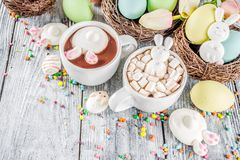 Easter funny hot chocolate stock images