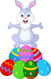 Easter funny rabbit with eggs Royalty Free Stock Photo