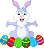 Easter funny rabbit with eggs. Illustration of Easter funny rabbit with eggs Royalty Free Stock Image