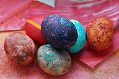 Easter galaxy eggs Royalty Free Stock Photo