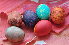 Easter galaxy eggs Royalty Free Stock Photography