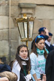 Easter in Galicia Spain. PONTEVEDRA, SPAIN - APRIL 2, 2015: An acolyte carrying a lantern, member of a religious brotherhood, hope to participate in a procession Royalty Free Stock Photos
