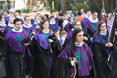 Easter in Galicia Spain. PONTEVEDRA, SPAIN - APRIL 2, 2015: Band instruments, wind and percussion, members of a religious brotherhood, parading in a procession Stock Photo