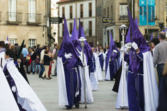 Easter in Galicia Spain. PONTEVEDRA, SPAIN - APRIL 2, 2015: A group belonging to a religious brotherhood, before the start of a procession in celebration of Royalty Free Stock Photos