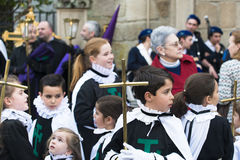 Easter in Galicia Spain. PONTEVEDRA, SPAIN - APRIL 2, 2015: Members of a religious brotherhood, hope to participate in a procession in celebration of Easter in Royalty Free Stock Photos
