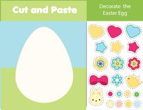 Easter game. children educational game. Cut and paste type. Decorate Easter egg with glue and scissors. Stickers game for toddlers. And pre school years kids Stock Photo