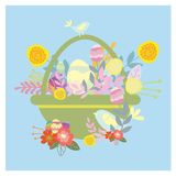 Easter basket with eggs. Funny little birds vector illustration