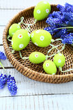 Easter garland and hyacinths on a wicker tray Royalty Free Stock Images