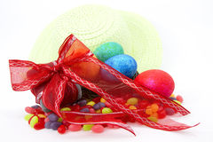 Easter Gift, Jellybeans, Eggs, and Bonnet Stock Photo