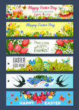 Easter gift tag set with cartoon holiday symbols Stock Photos