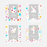 Easter gift tags and cards. Template of Easter greeting cards. Grey isolated layer on top individualized with a cut out silhouettes of egg, hare,  butterfly and Royalty Free Stock Images