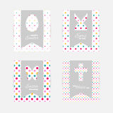 Easter gift tags and cards. Template of Easter greeting cards. Grey isolated layer on top individualized with a cut out silhouettes of egg, hare, butterfly Royalty Free Stock Images