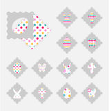 Easter gift tags. Template of Easter gift tags. Grey  layer on top individualized with a cut out easter silhouettes of egg, hare,  butterfly, cross. Bottom layer Royalty Free Stock Photo