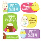 Easter gift tags with traditional seasonal greetings and cute symbols. Chickens, rabbits, eggs. Vector collection for prints, package, scrapbook vector illustration