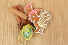 Easter ginger breads and cinnamon Royalty Free Stock Image