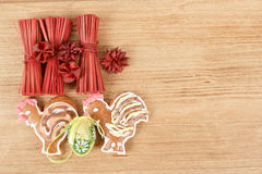 Easter ginger breads,egg and painted egg Stock Photos