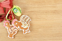 Easter ginger breads and painted egg Stock Photos