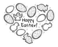 Easter gingerbread black outline royalty free illustration