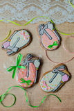 Easter gingerbread cookies in the background Royalty Free Stock Photos