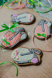 Easter gingerbread cookies in the background Royalty Free Stock Photography
