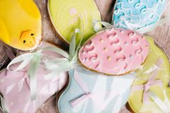 Easter gingerbread cookies color glazing mix food. Easter gingerbread cookies in colorful glazing mix background. holiday pastry food Royalty Free Stock Photography