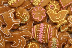 Easter gingerbread cookies - czech tradition. As nice holiday background royalty free stock photography