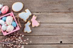 Easter gingerbread cookies and eggs Royalty Free Stock Photography