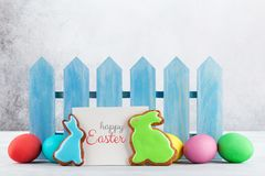 Easter gingerbread cookies and eggs stock photo